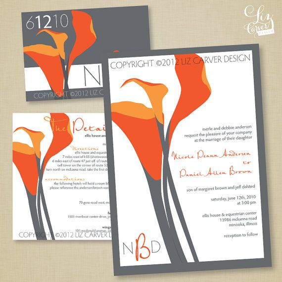 Calla lily orange and grey (id do blue paper with white or silver lilies) wedding invitations