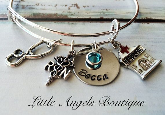 LPN or RN Bangle Personalized with name by littleangelsboutique