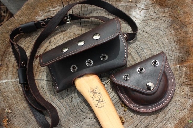 Bushcraft leather Hultafors Axe Cover and Pouch - Bushcraft Canada