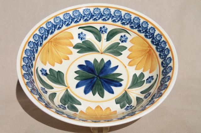 vintage Maastricht Societe Ceramique pottery bowl, Holland gaudy dutch stick spatter china