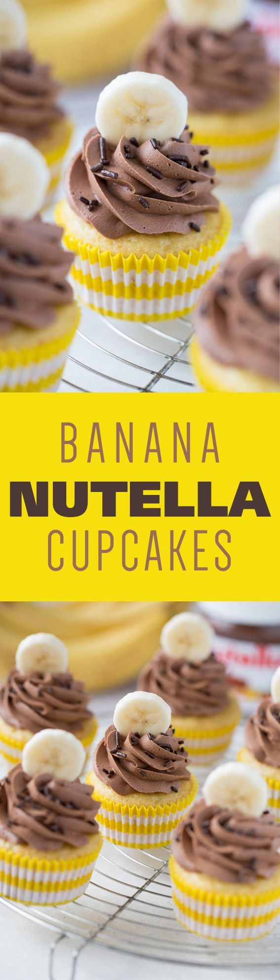 Banana Nutella Cupcakes start with a light and airy banana cake. Topped with Nutella frosting, these cupcakes will become your favorite! from @bakingaddiction