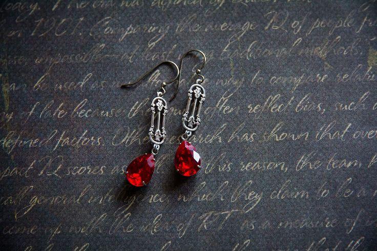 """Купить Серьги с кристаллами Сваровски """"Алые розы"""" - ярко-красный, красный, красные серьги"""