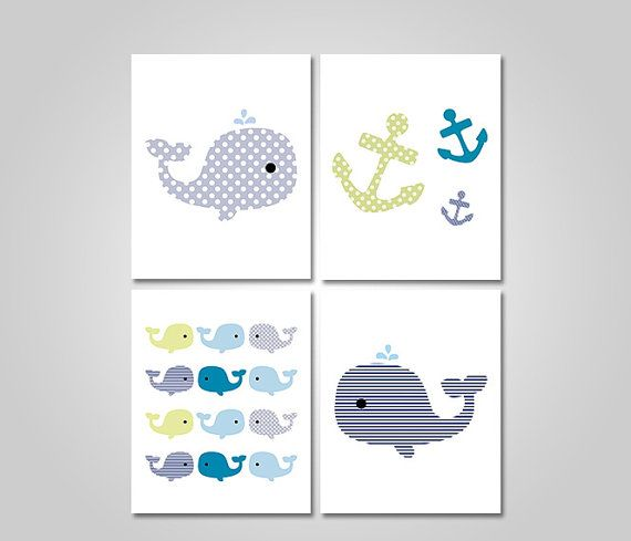Whales N Waves Nautical Anchors Navy Blue by KookyburraPrints