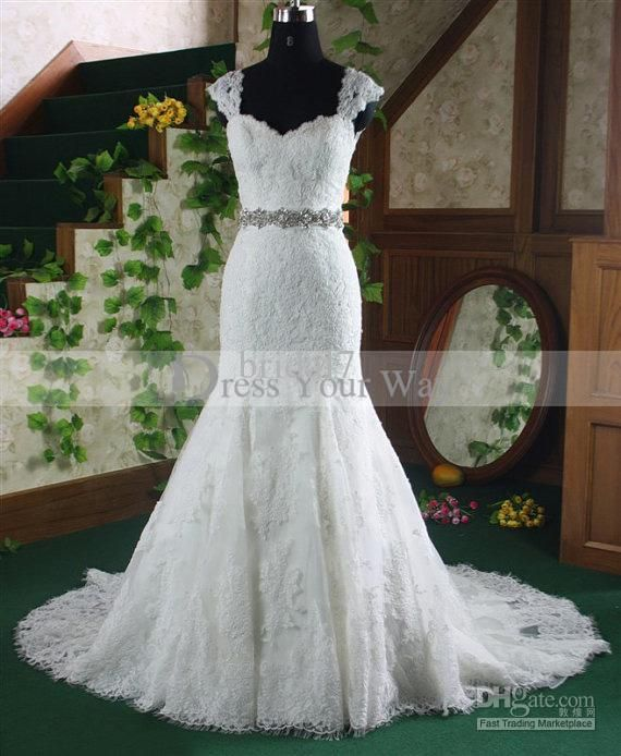 Wholesale Empress 2013 New Arrival Sexy Elegant Mermaid Wedding Dress Luxury Crystals Lace Appliques Gowns, Free shipping, $212.8~224.0/Piece | DHgate Mobile