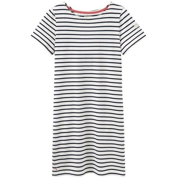 Women's Joules Riviera Dress ($31) ❤ liked on Polyvore featuring dresses, short sleeve dress, nautical dresses, cotton jersey dress, white dress and white fitted dress