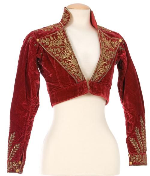 A red velvet, gold embroidered pelisse, I love it and haven't see anything quite like it, must reproduce!    regency | Tumblr