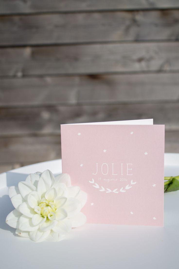 Zachtroze geboortekaartje van Jolie met olijftak en sterretjes - ontwerp door www.leesign.nl #leesign #geboortekaart #geboortekaartje #roze #meisje #olijftak #olivebranch #jolie #birthcard #birth #announcement #cards
