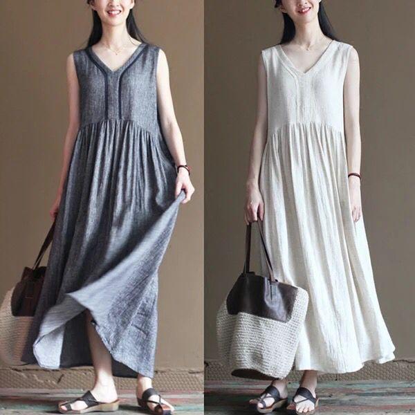 Long tunics cotton linens long dress women clothes 85$