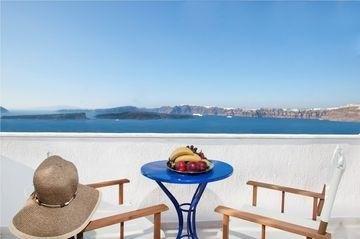 View from the Caldera Romantica, Santorini, Greece: http://www.hotelpeeps.com/santorini/caldera-romantica/40724
