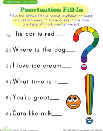This is a worksheet I would use with students as they are being introduced to how punctuation should be used.
