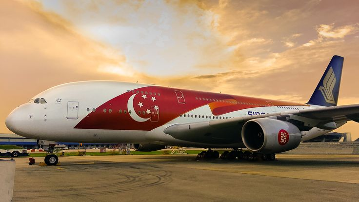 Singapore Airlines celebrates SG50 with national flag livery on its A380s. -- #travel