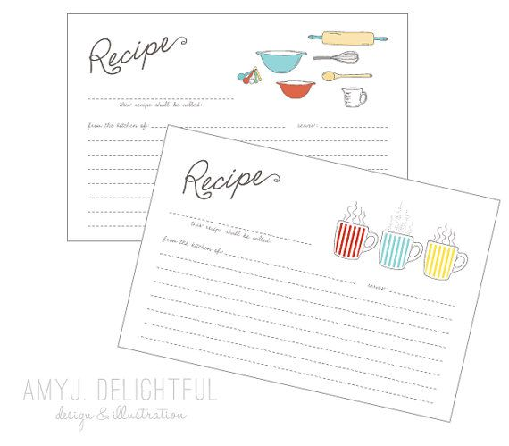Blank RECIPE CARD TEMPLATE for personal and commercial use by ...
