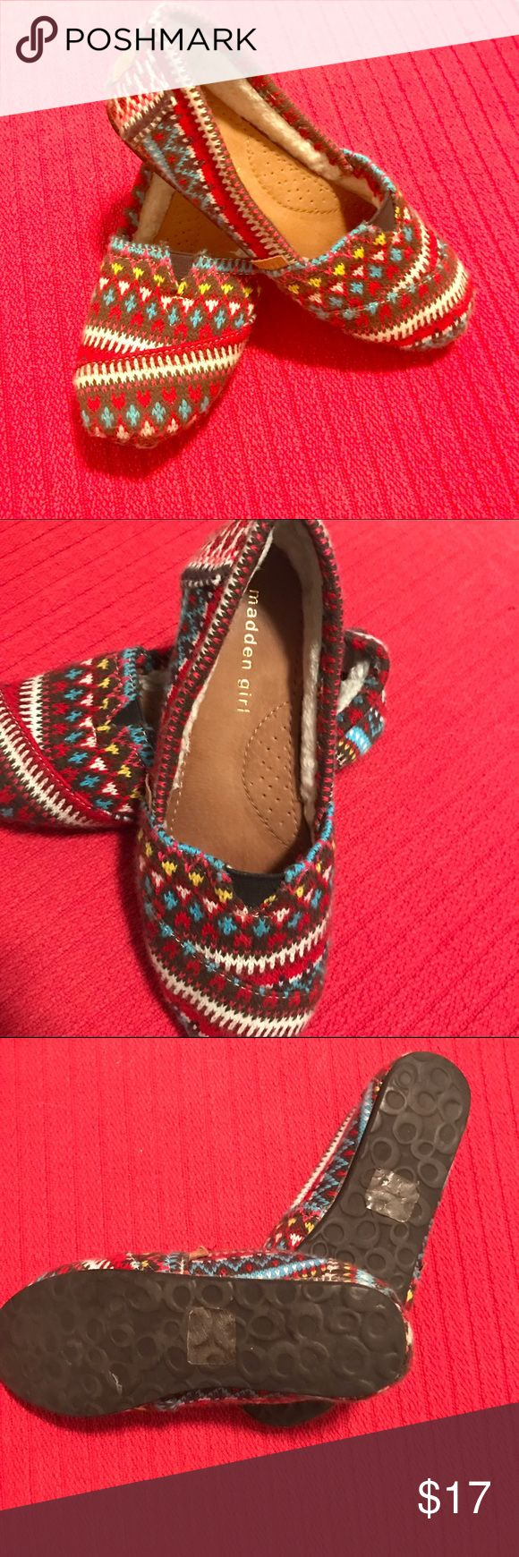 Steve Madden - Madden girl Mocs w shearling lining Size 7- only worn a few times. Made in the same factory that makes Toms. Exact same cut! Fits 7 or 7.5 Steve Madden Shoes Moccasins