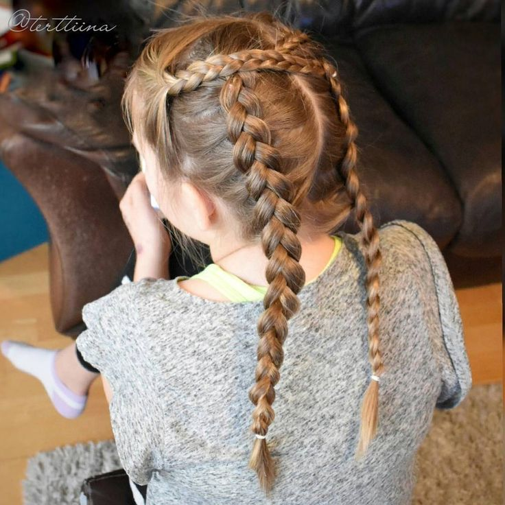 Two small braids into two french braids!