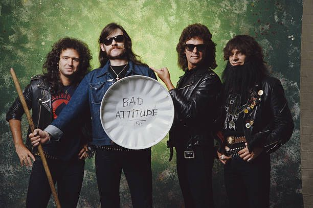 Portrait of British Heavy Metal group Motorhead Spring 1987 Pictured are from left Phil Campbell Lemmy Pete Gill and Wurzel