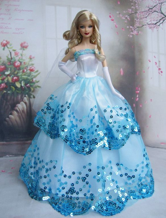 Free shipping blue dress party clothes outfit gown skirt for Barbie wedding dresses for sale