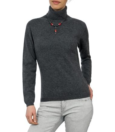 Grey Cashmere Polo Neck   Cashmere Wool Womens Sweater
