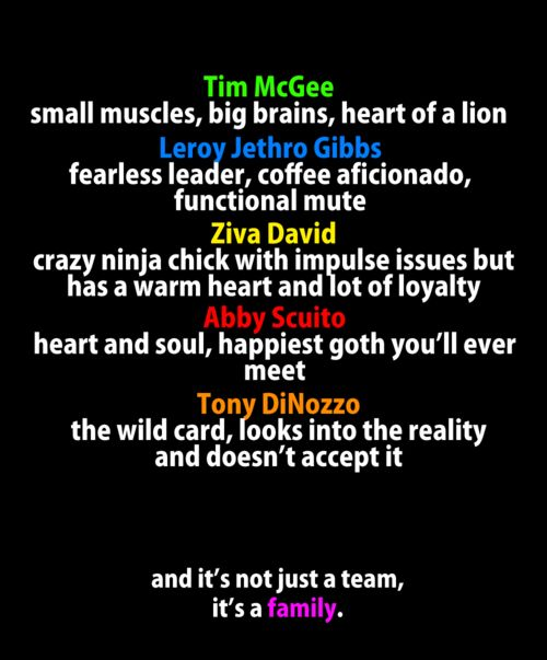 NCIS team  They forgot Ducky!!! Jimmy and Leon should've made the list too *shakes fist*                                                                                                                                                                                 Mehr