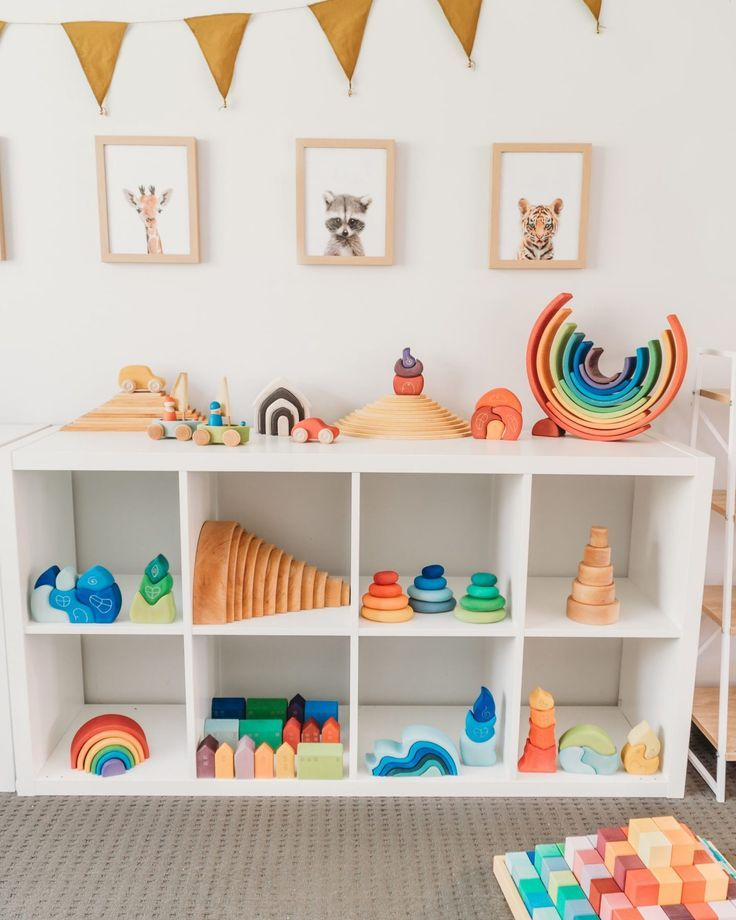 The Benefits Of Wooden Toys And Why I Love Them Toy Shelves Montessori Playroom Toddler Playroom