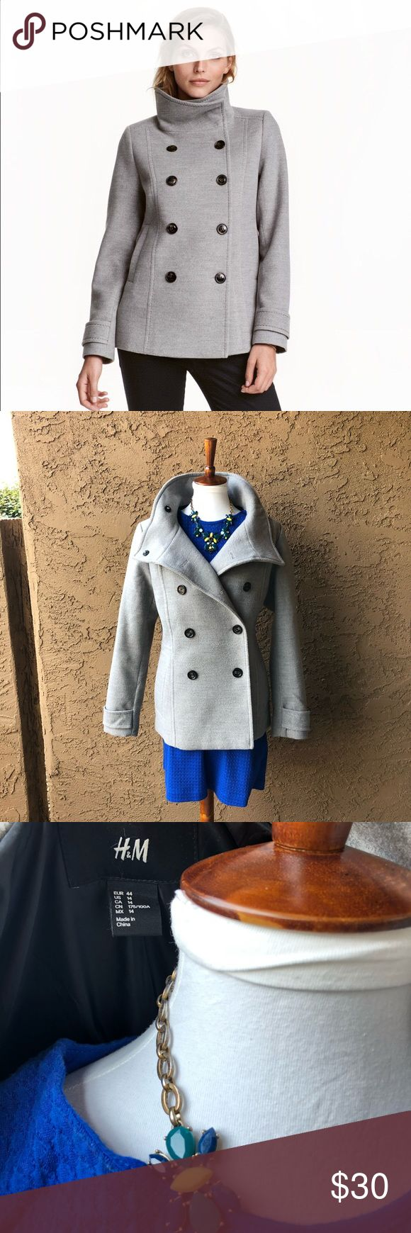 H&M grey pea coat size 14 Purchased from H&M, worn one season. H&M Jackets & Coats Pea Coats