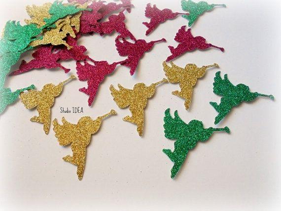 30 Large Glitter Silver Gold Green & Red Angel Cut by StudioIdea