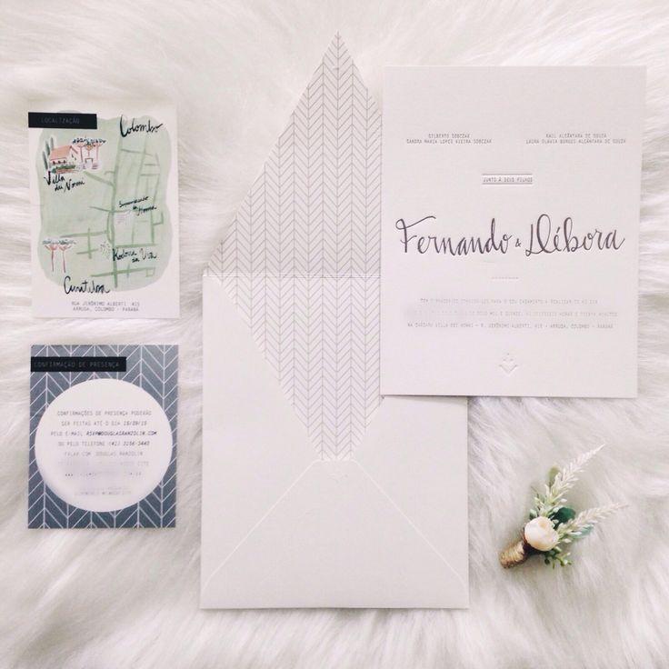 Convite do casamento! Minimalista com impressão em Letterpress + mapa ilustrado + rsvp  Envelope com estampa interna e formato vintage