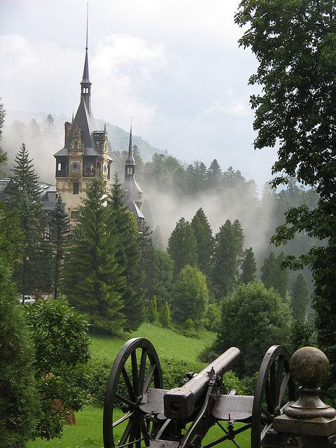 Peleș Castle (Castelul Peleș) is a Neo-Renaissance castle in the Carpathian Mountains, near Sinaia, in Prahova County, Romania, on an existing medieval route linking Transylvania and Wallachia, built between 1873 and 1914. Its inauguration was held in 1883. Peleș became the world's first castle fully powered by locally produced electricity. Wiki.