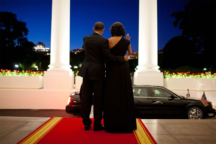 """""""There was still a little light left in the evening sky as the President and First Lady waved goodbye to President Shimon Peres of Israel following a dinner in his honor at the White House."""" (Official White House Photo by Pete Souza)"""