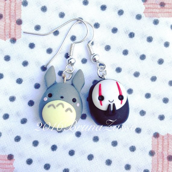 Ghibli Totoro earrings & Fimo Polymer Clay Earrings by BrunaZassou