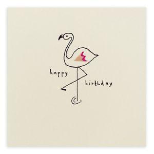 Pencil Shavings greeting Card Happy Birthday Flamingo Girl