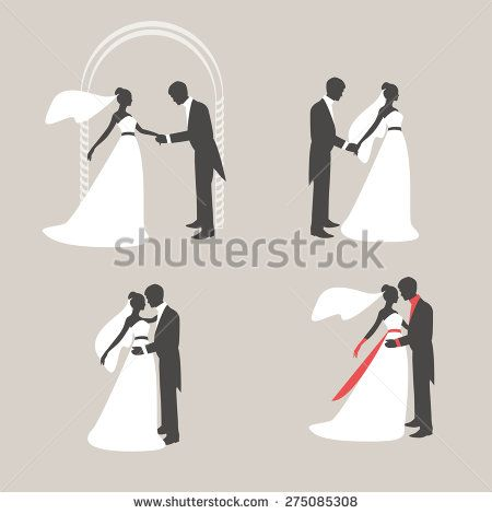 Retro silhouettes of the bride and bridegroom. The groom holds the hand of the bride. Bride and groom embracing and kissing. Vector