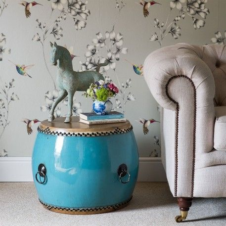 Blue Chinese Ceremonial Drum Side Table from one of our traders Orchid Furniture