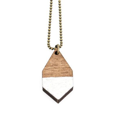 DIAMANTE small necklace in hammered white