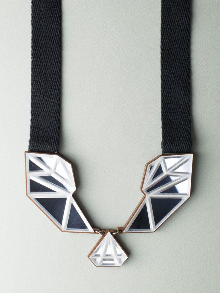 Textile Mirror Necklace #jewelry #design #necklace