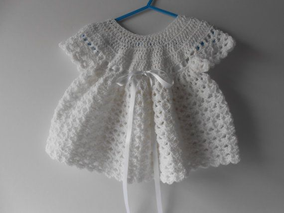 Crochet White Baby Dress with Hairband. Baptism by AluraCrafts