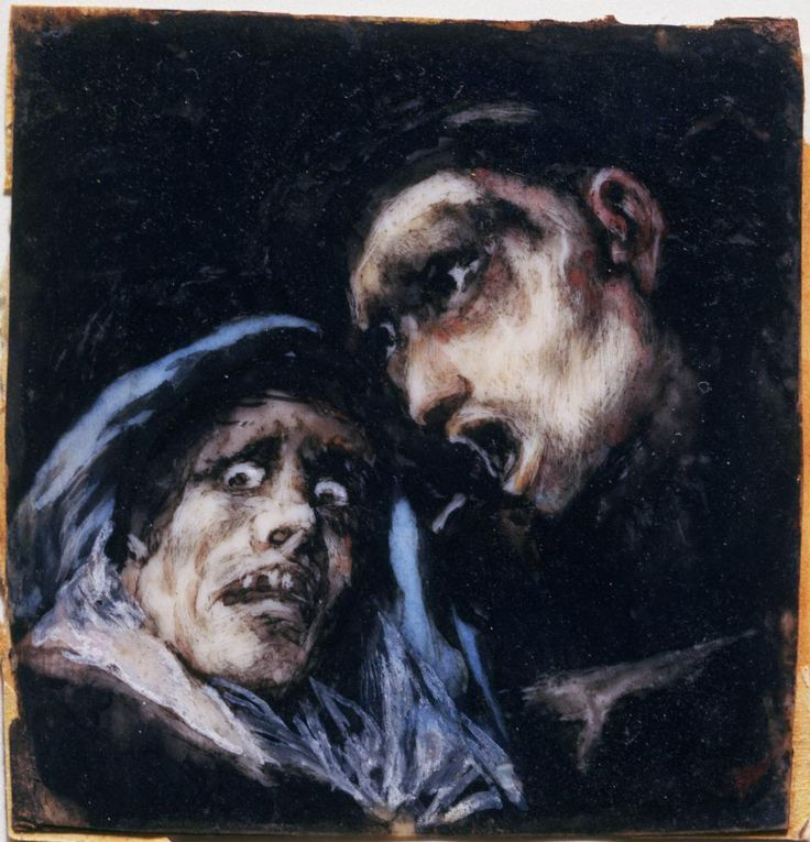 Francisco José de Goya y Lucientes, Spanish, 1746–1828 Monk Talking to an Old Woman, 1824–25 Watercolor on ivory 5.7 x 5.4 cm. (2 1/4 x 2 1/8 in.) frame: 22.9 x 22.9 cm. (9 x 9 in.)