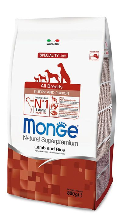ALL BREEDS PUPPY & JUNIOR LAMB AND RICE Kibbles Monge Natural Superpremium Speciality Line Puppy & Junior with Lamb and Rice are complete food for puppies of all sizes.