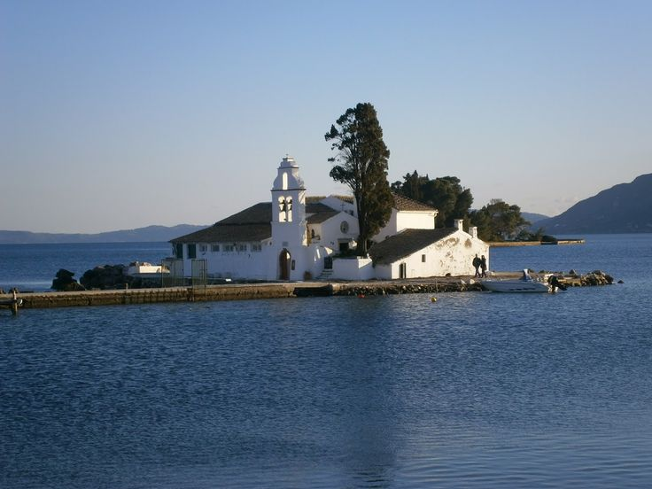 The Vlacherna monastery - It is probably the most well known corfiot landmark, its image comes to mind when talking about Corfu. The Vlacherena monastery was founded many centuries ago on a little rocky island close to the southern tip of the Kanoni peninsula.
