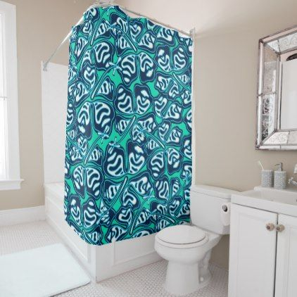 Abstract Green Tropical Floral Shower Curtain