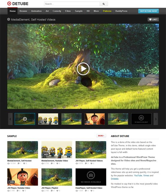 This video WordPress theme features a responsive layout, BuddyPress compatibility, support for 4 media players, support for embedded and self-hosted videos, Twitter integration, 14 background patterns, and more.