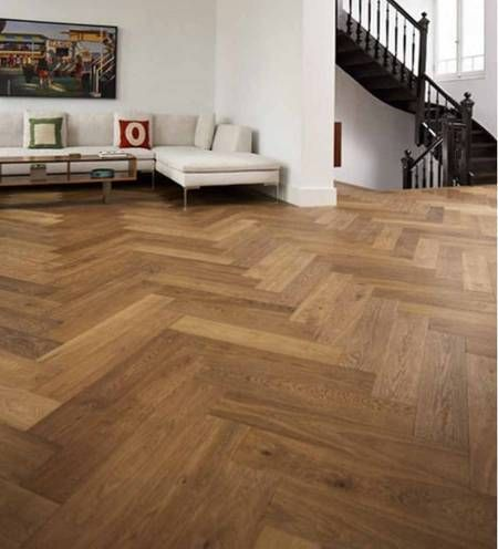 Trade Choice Easy Click Loc Parquet Engineered Smoked Oak 14/3mm x 150mm Brushed and Oiled Herringbone Wood Flooring