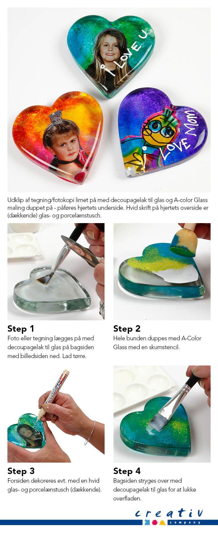 Glashjerte med decoupage - Udklip af tegning/fotokopi limet på med decoupagelak til glas og A-color Glass maling duppet på - påføres hjertets underside. Hvid skrift på hjertets overside er (dækkende) glas- og porcelænstusch.