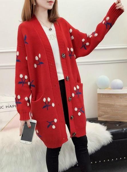 Women Knitted Cardigan Long Cherry Long Sleeve Sweater  6b2105f18