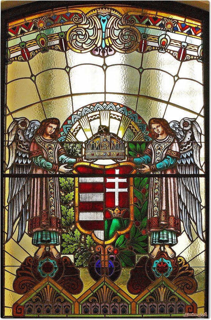 Magyar címer; Kultúrpalota - Marosvásárhely, Erdély - Stained glass Window Marosvásárhely Transylvanian Secession style