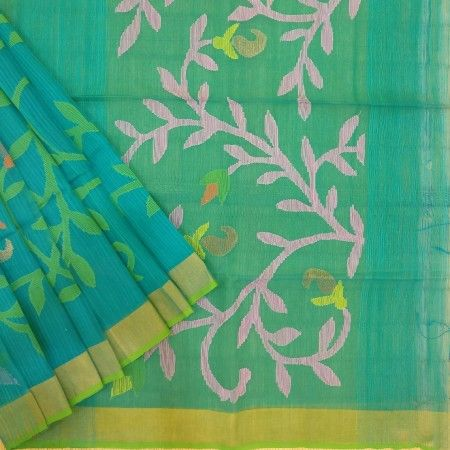 Magnificent blue base coloured jamdani saree has green coloured bel. #bel #jamdani #green #handloom