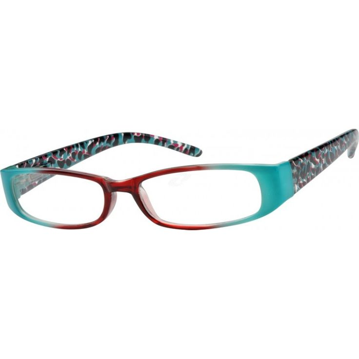 A plastic full-rim frame with design on temples and spring hinges. ...Price - $12.95 i have these and i love them.
