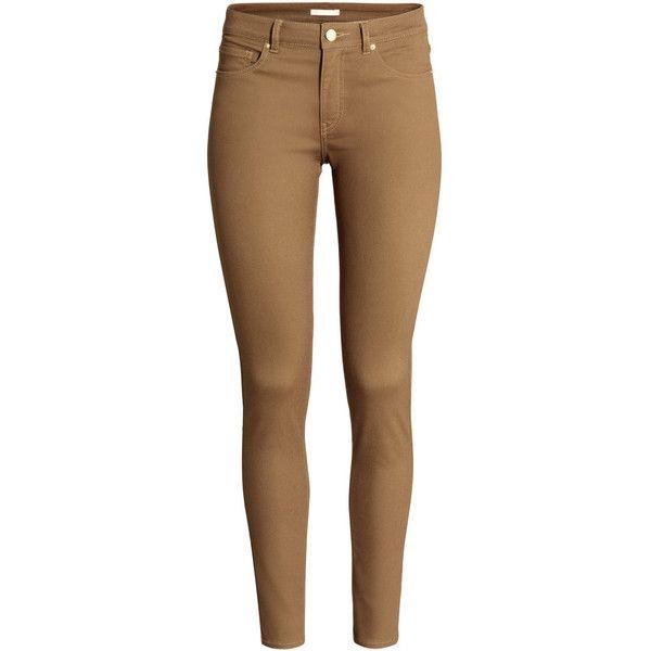 H&M Superstretch trousers ($23) ❤ liked on Polyvore featuring pants, jeans, bottoms, calças, pantalon, dark beige, h&m trousers, five pocket pants, slim leg pants and 5 pocket pants