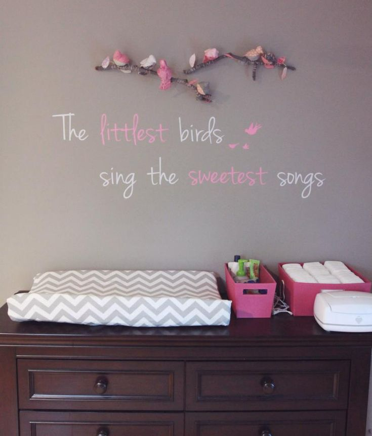 pink and gray nursery with custom birds on branch by baby jives co and sweet saying