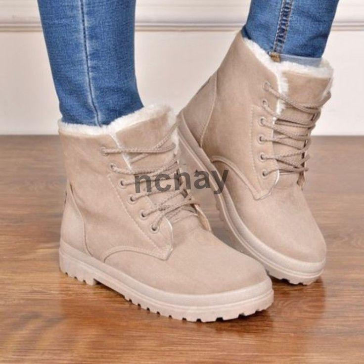 56fb86c9889079 Warm Women Winter Faux Suede Fur Lined Lace Up Ankle Snow Boots Shoes  US4.5-11