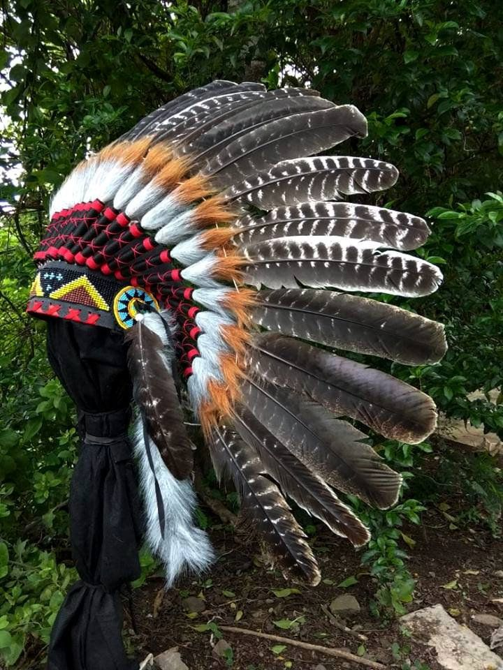 Natural ADJUSTABLE Long Feather Headdress Native American Indian Style